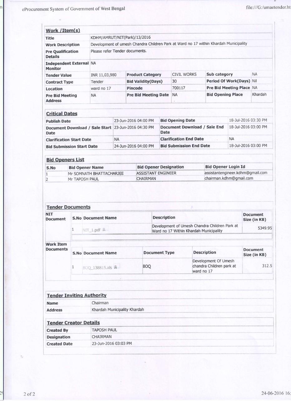 E-TENDER DOCUMENTS AMRUT(PARK) | Khardah Municipality